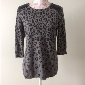 White House Black Market Leopard Sweater